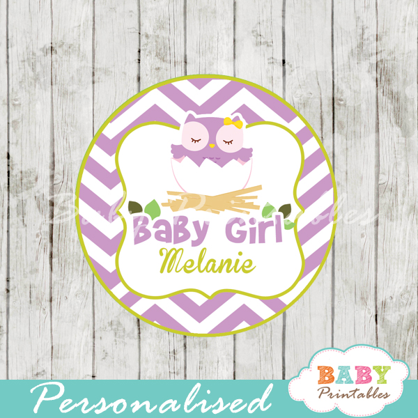 printable purple owl custom baby shower gift tags