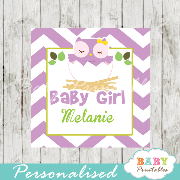 purple owl printable custom baby shower gift labels