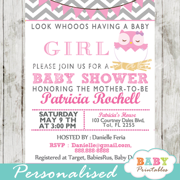 personalized pink grey owl baby shower invitation printable