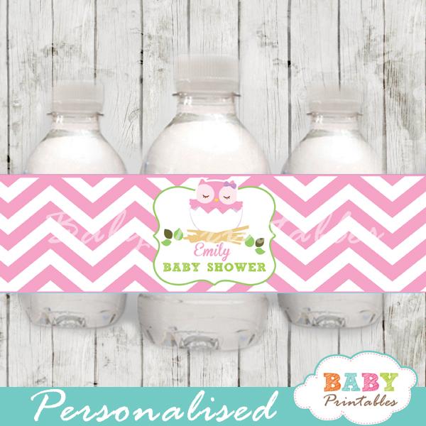 Pink Owl Baby Shower Bottle Labels D123 Baby Printables
