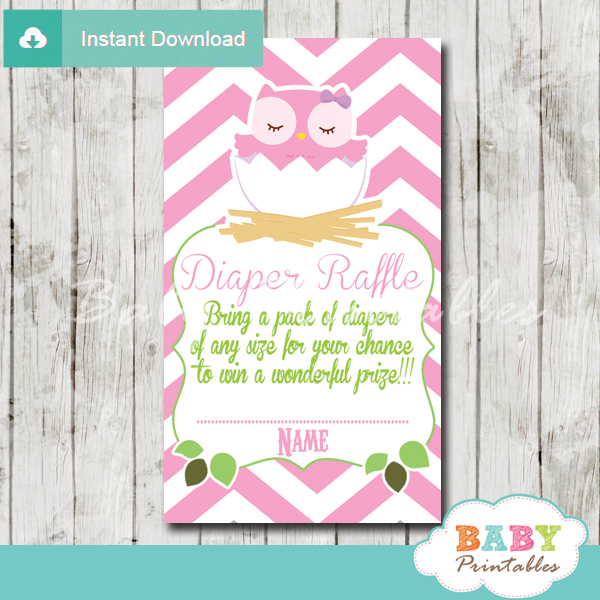pink owl printable diaper raffle tickets