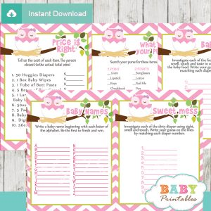 pink printable owl baby shower fun games ideas