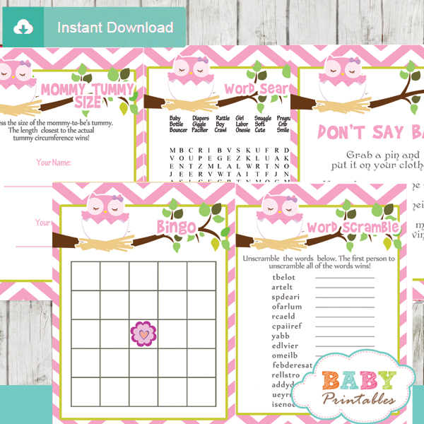 printable pink owl baby shower games package