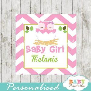 pink owl printable custom baby shower gift labels