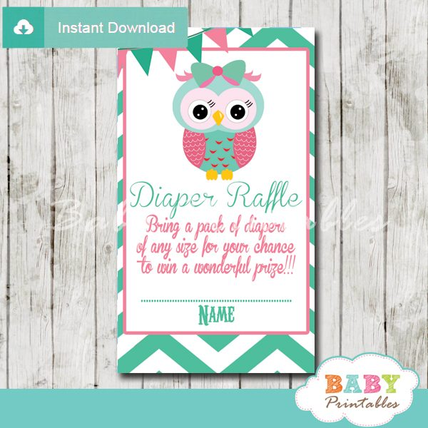 mint green and pink owl printable diaper raffle tickets cards