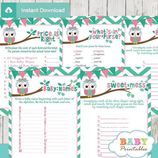 baby girl mint green pink printable owl baby shower fun games ideas