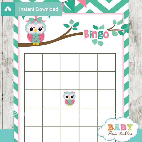 printable owl baby shower bingo games cards