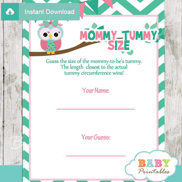 Printable Owl Baby Shower Game Guess The Mommyu0027s Tummy Size