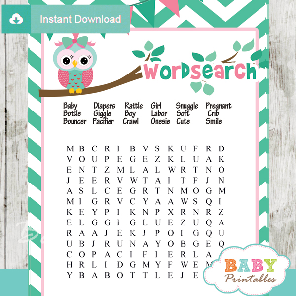 Mint Green & Pink Owl Baby Shower Games Bundle - D126 - Baby Printables