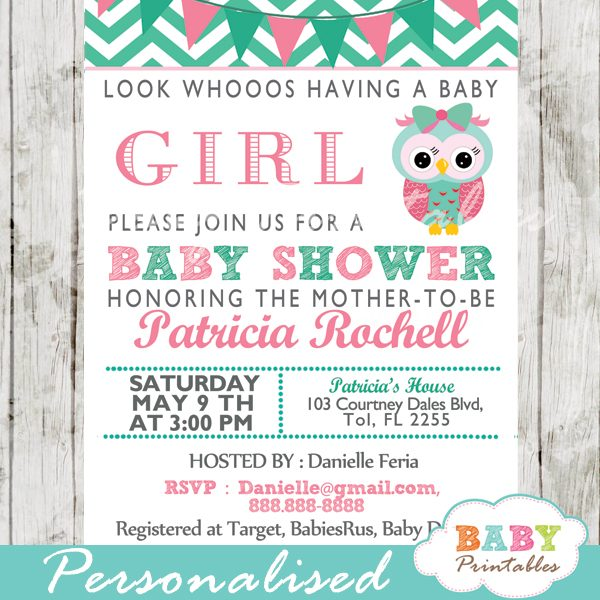 personalized baby girl mint green pink owl chalkboard baby shower invitation printable