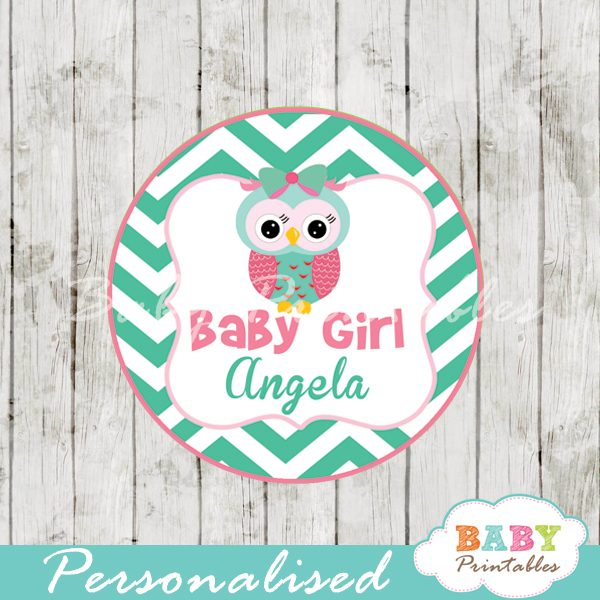 graphic about Baby Shower Gift Tags Printable called Mint Eco-friendly Red Owl Kid Shower Like Tags - D126