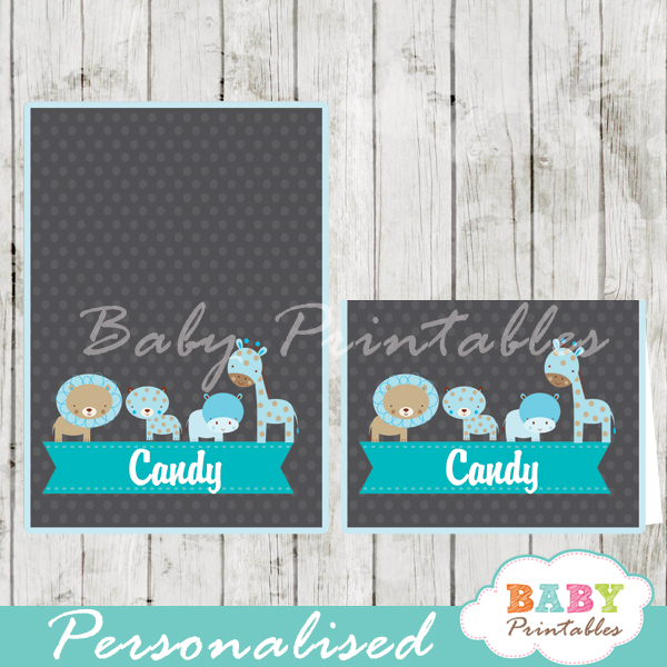 chalkboard blue jungle animals printable food label cards for baby shower