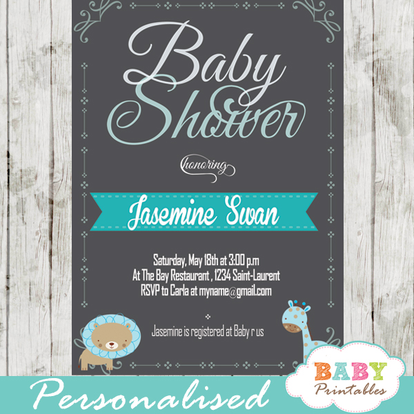 Blue safari baby shower invitation d130 baby printables personalized baby boy blue jungle safari chalkboard baby shower invitation printable filmwisefo