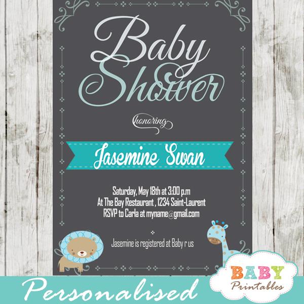 personalized baby boy blue jungle safari chalkboard baby shower