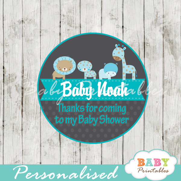 custom printable blue jungle safari baby shower gift tags