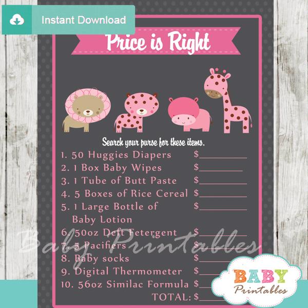 Pink Safari Baby Shower Games D131 Baby Printables