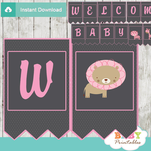 printable pink jungle safari personalized baby shower banner