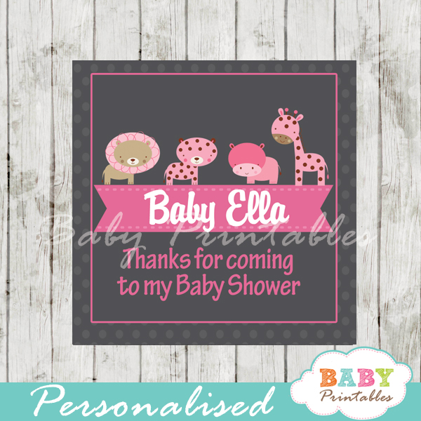 baby girl pink jungle animals printable chalkboard baby shower gift labels for favors
