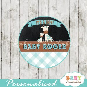 custom printable blue giraffe baby shower gift tags
