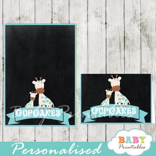 chalkboard blue giraffe printable food label cards for baby shower