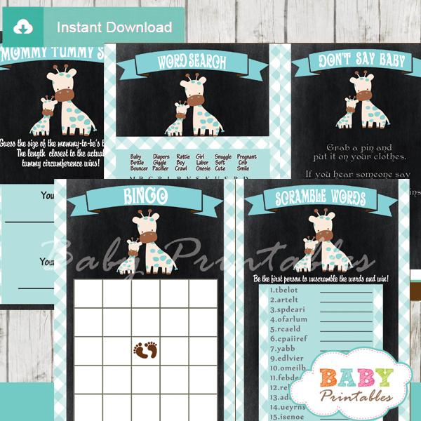 printable blue safari giraffe baby shower games package