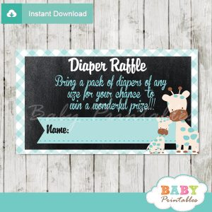 printable blue giraffe diaper raffle tickets boy baby shower