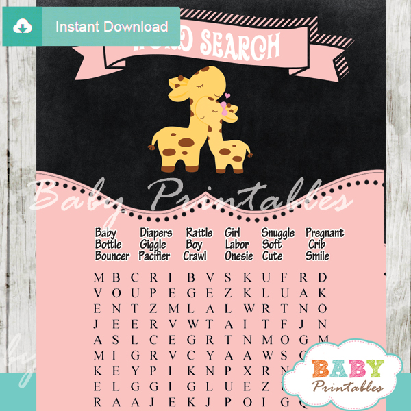 Pink Giraffe Baby Shower Games Bundle D133 Baby Printables
