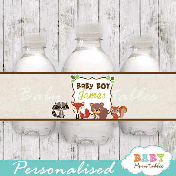 image about Printable Woodland Animals named Woodland Child Shower Bottle Labels - D137