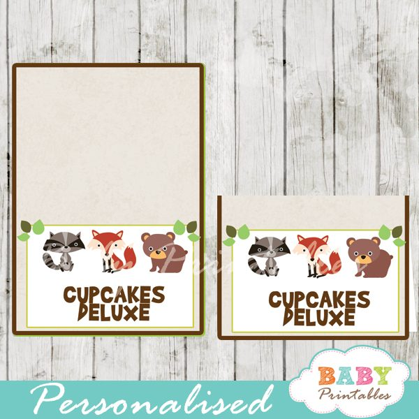 printable food labels woodland forest animals baby shower