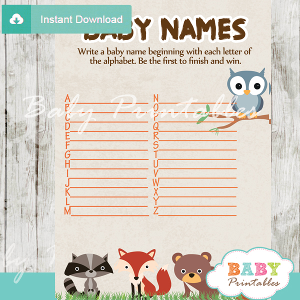 printable woodland Name Race Baby Shower Game