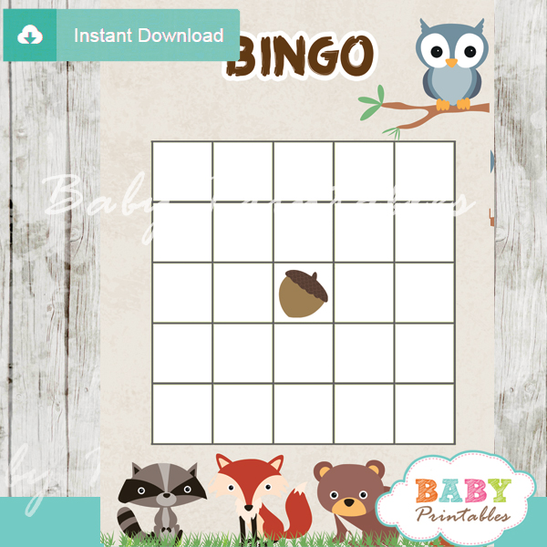 Printable woodland themed baby shower bingo games cards