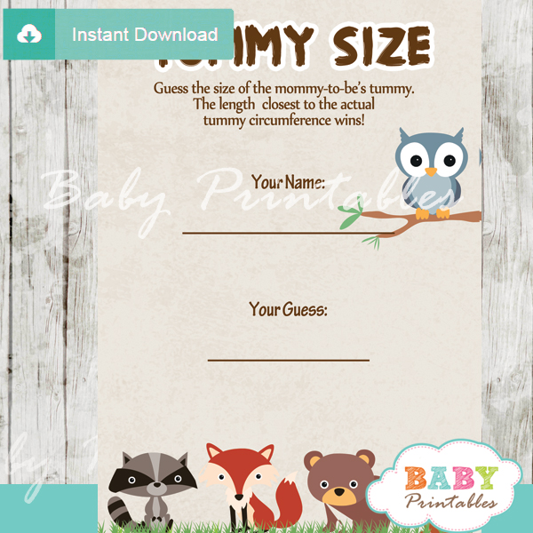 woodland themed printable Baby Shower Game Guess the Mommy's Tummy Size