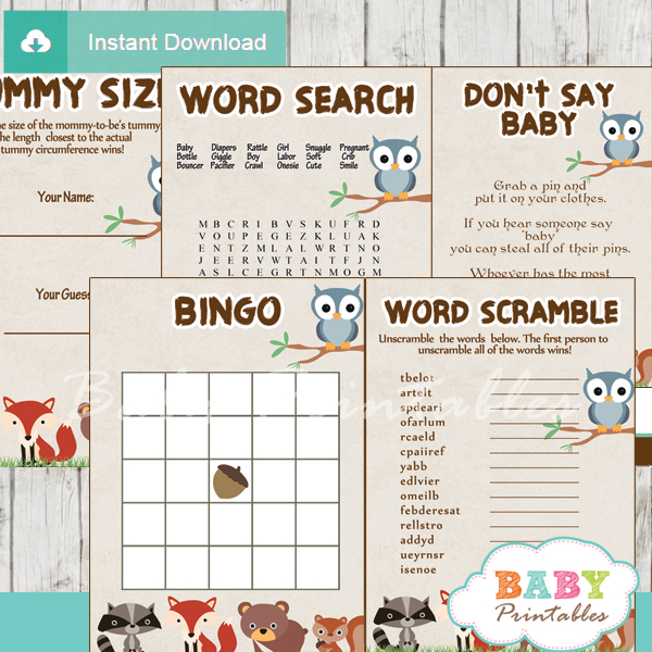 woodland baby shower games bundle  u2013 d137