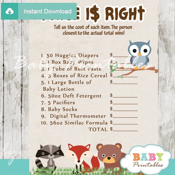Woodland Baby Shower Games Bundle D137 Baby Printables