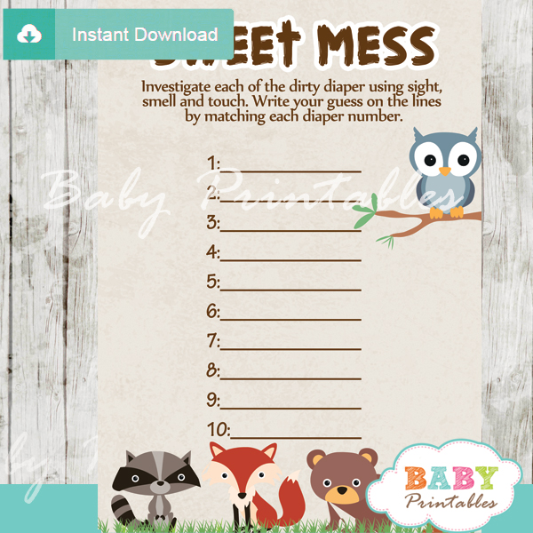 Woodland Baby Shower Games - D137 - Baby Printables