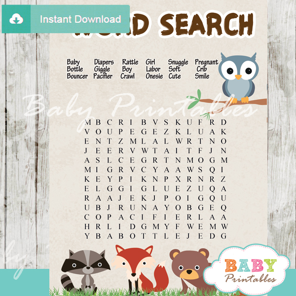 Woodland Baby Shower Games Bundle - D137 - Baby Printables