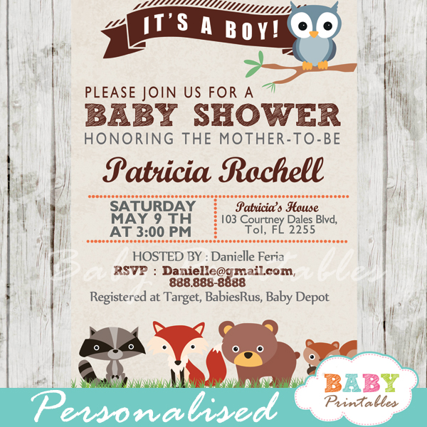 137 woodland animals baby shower invitation