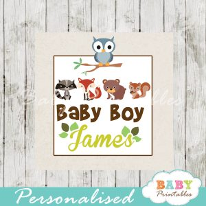 printable custom woodland creatures baby shower gift labels