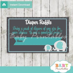 boy printable blue elephant diaper raffle tickets