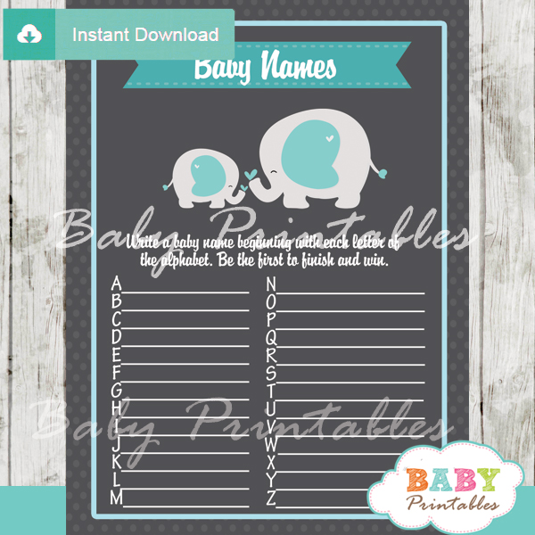 printable blue elephant Name Race Baby Shower Game