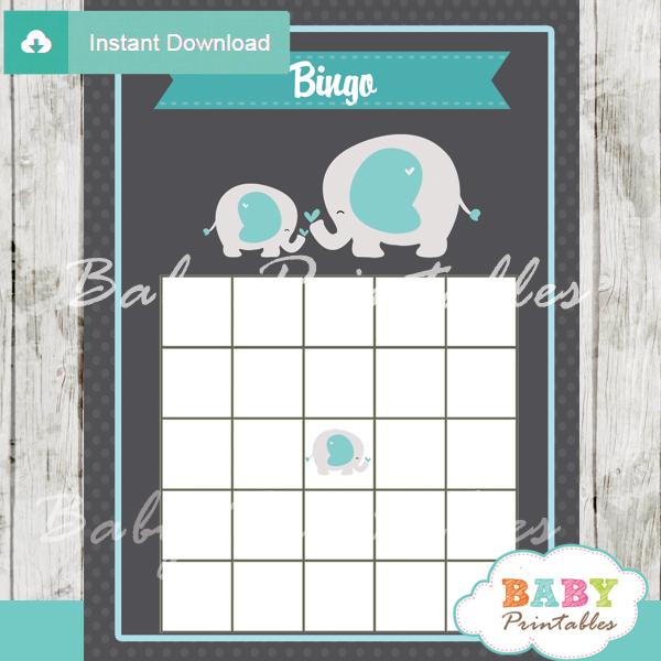 printable blue elephant boy baby shower bingo games cards