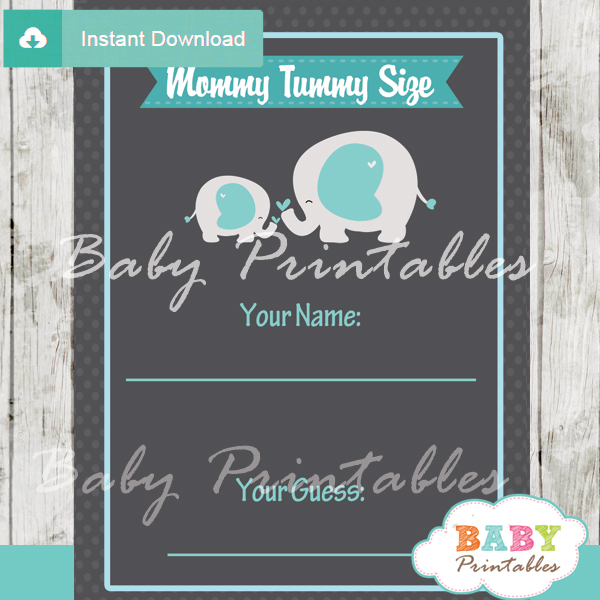 boy elephant themed printable Baby Shower Game Guess the Mommy's Tummy Size