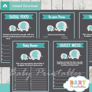 printable elephant boy baby shower fun games ideas