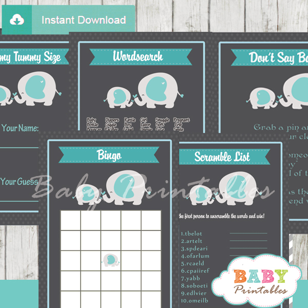 blue grey printable elephant boy baby shower games package