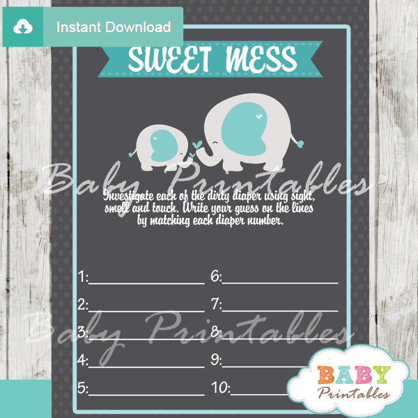 boy elephant themed Baby Shower Game What's That Sweet Mess Dirty Diaper Shower Game