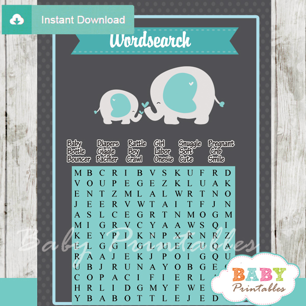 boy elephant themed printable baby shower word search puzzles