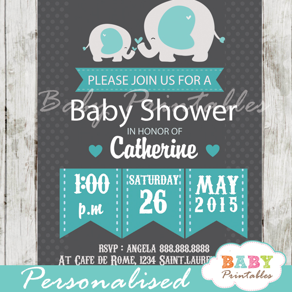 personalized chalkboard blue grey elephant boy baby shower invitation printable