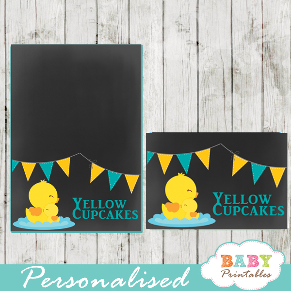 chalkboard yellow rubber duck printable food label cards for boy baby shower