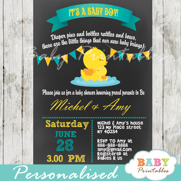 personalized baby boy rubber duck chalkboard baby shower invitation printable