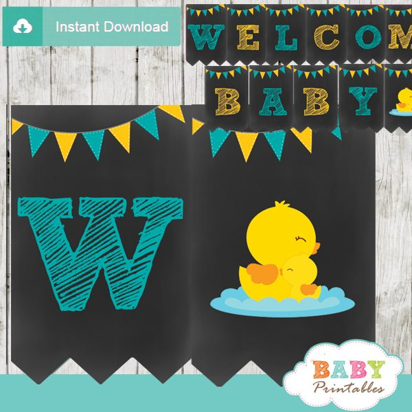 printable yellow rubber ducky personalized baby shower boy banner decor